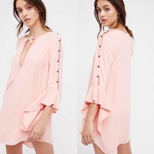 Free People Georgine Bell Sleeve Retro Pink Dress